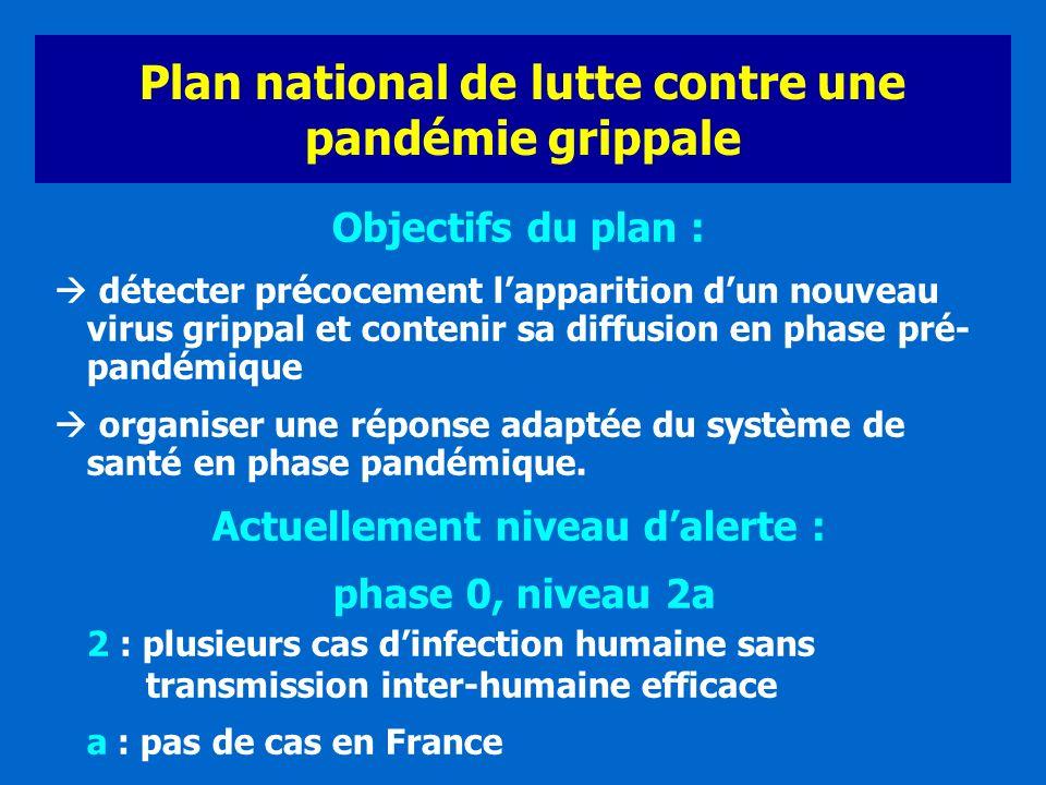Plan national de lutte contre une pandémie grippale Objectifs du plan : détecter précocement lapparition dun nouveau virus grippal et contenir sa diff
