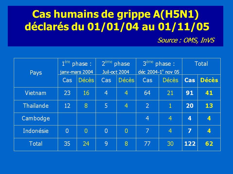 Cas humains de grippe A(H5N1) déclarés du 01/01/04 au 01/11/05 Source : OMS, InVS