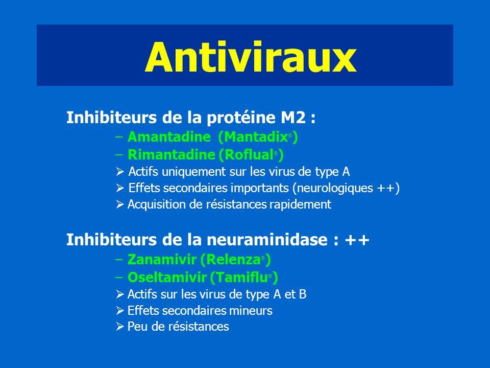 Antiviraux Inhibiteurs de la protéine M2 : –Amantadine (Mantadix ® ) –Rimantadine (Roflual ® ) Actifs uniquement sur les virus de type A Effets second
