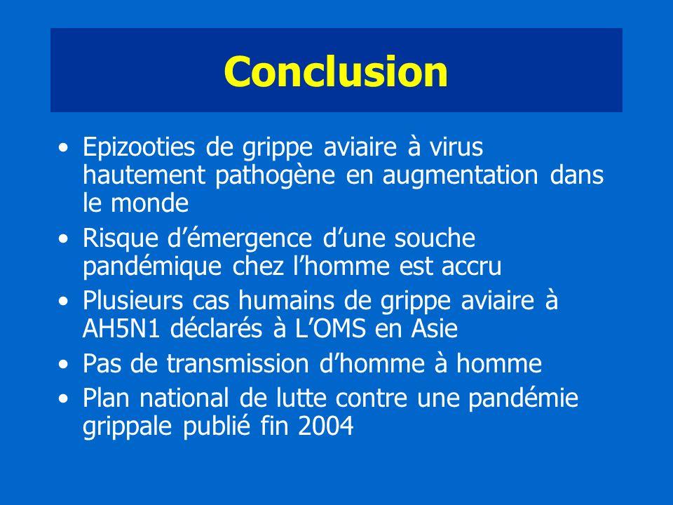 Conclusion Epizooties de grippe aviaire à virus hautement pathogène en augmentation dans le monde Risque démergence dune souche pandémique chez lhomme