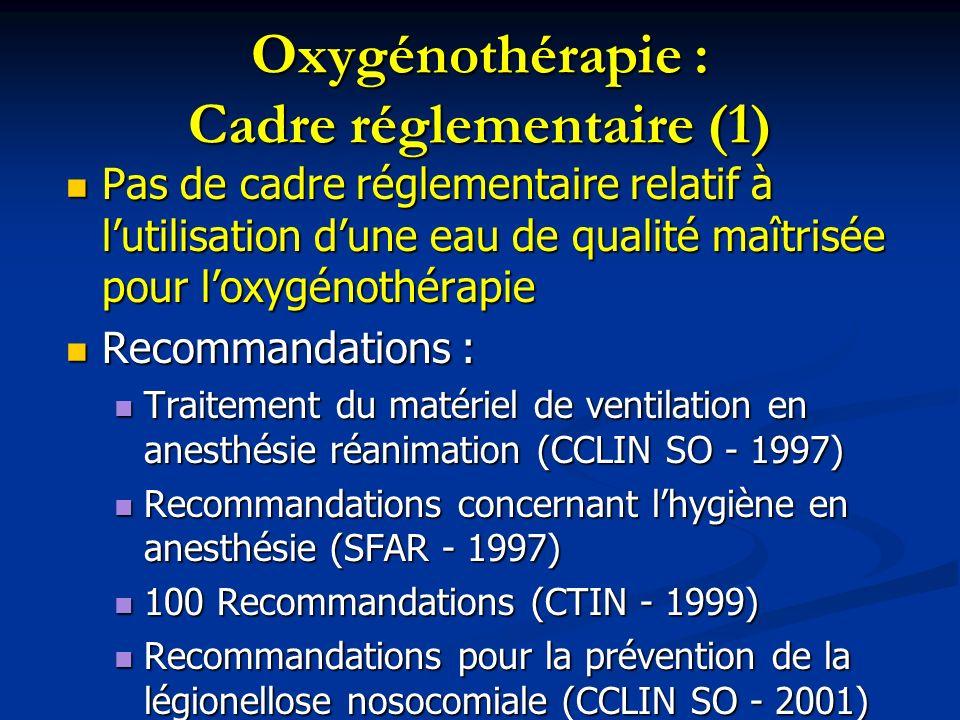 Oxygénothérapie : Cadre réglementaire (1) Pas de cadre réglementaire relatif à lutilisation dune eau de qualité maîtrisée pour loxygénothérapie Pas de