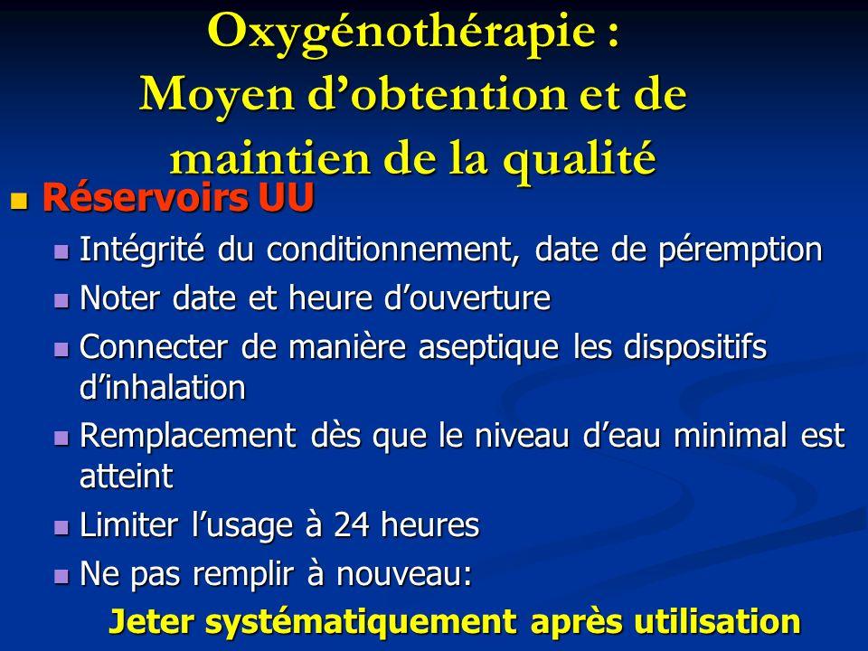 Oxygénothérapie : Moyen dobtention et de maintien de la qualité Réservoirs UU Réservoirs UU Intégrité du conditionnement, date de péremption Intégrité