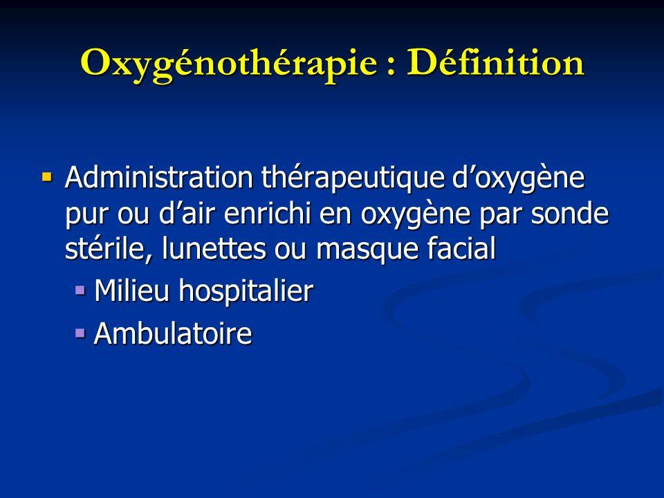 Oxygénothérapie : Définition Administration thérapeutique doxygène pur ou dair enrichi en oxygène par sonde stérile, lunettes ou masque facial Adminis