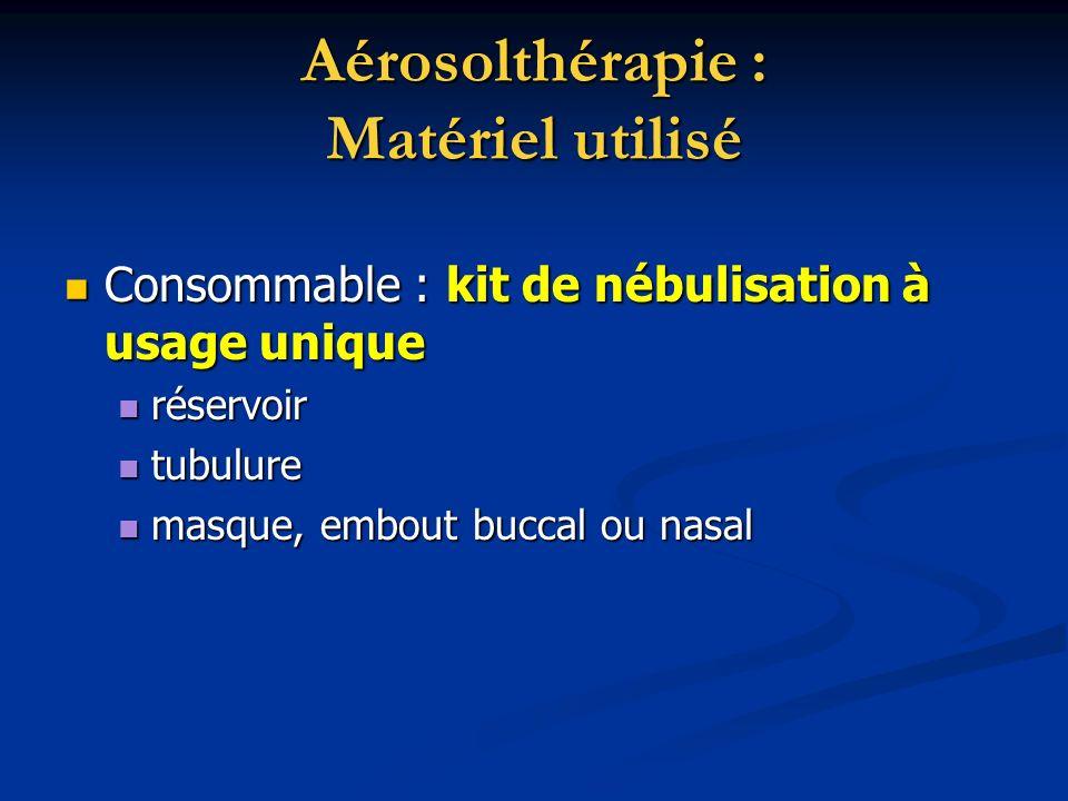 Aérosolthérapie : Matériel utilisé Consommable : kit de nébulisation à usage unique Consommable : kit de nébulisation à usage unique réservoir réservo