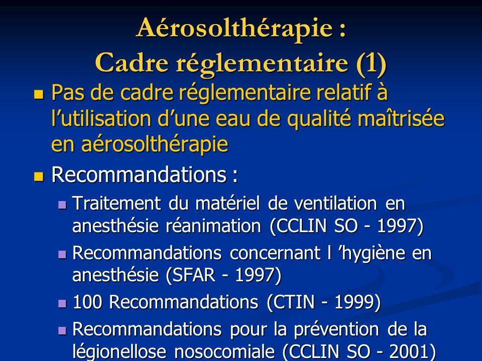 Aérosolthérapie : Cadre réglementaire (1) Pas de cadre réglementaire relatif à lutilisation dune eau de qualité maîtrisée en aérosolthérapie Pas de ca