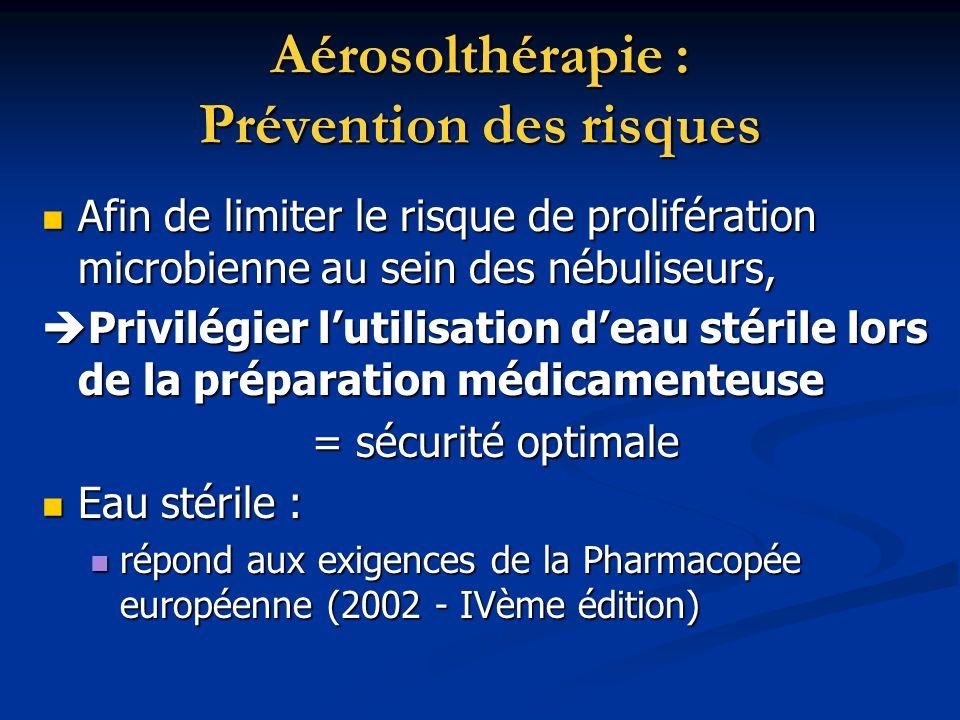 Aérosolthérapie : Prévention des risques Afin de limiter le risque de prolifération microbienne au sein des nébuliseurs, Afin de limiter le risque de