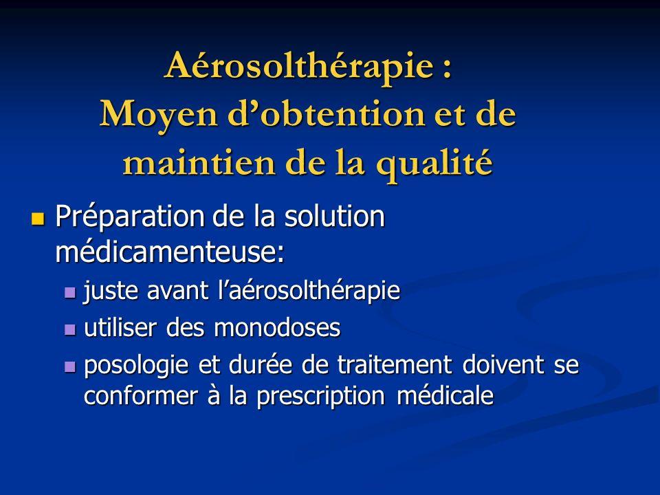 Aérosolthérapie : Moyen dobtention et de maintien de la qualité Préparation de la solution médicamenteuse: Préparation de la solution médicamenteuse: