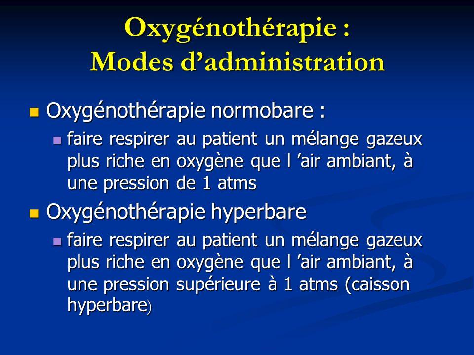 Oxygénothérapie : Mode dadministration Accessoires utilisés: Accessoires utilisés: manodétendeur, débitmètre manodétendeur, débitmètre humidificateur humidificateur appareils dinhalation : masque à oxygène, sonde nasale, lunettes à oxygène, cathéter transtrachéal appareils dinhalation : masque à oxygène, sonde nasale, lunettes à oxygène, cathéter transtrachéal