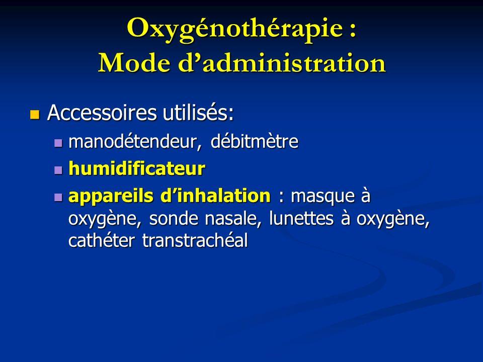 Oxygénothérapie : Humidificateurs Lhumidification est indiquée : Lhumidification est indiquée : pour un débit en oxygène supérieur à 3 litres/min pour un débit en oxygène supérieur à 3 litres/min pour les malades dont les muqueuses respiratoires sont lésées ou sensibles pour les malades dont les muqueuses respiratoires sont lésées ou sensibles Lhumidification peut se faire par lintermédiaire : Lhumidification peut se faire par lintermédiaire : dun humidificateur jetable, pré rempli deau stérile dun humidificateur jetable, pré rempli deau stérile dun humidificateur réutilisable (barboteur) dun humidificateur réutilisable (barboteur)