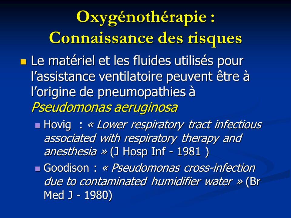 Oxygénothérapie : Connaissance des risques Le matériel et les fluides utilisés pour lassistance ventilatoire peuvent être à lorigine de pneumopathies