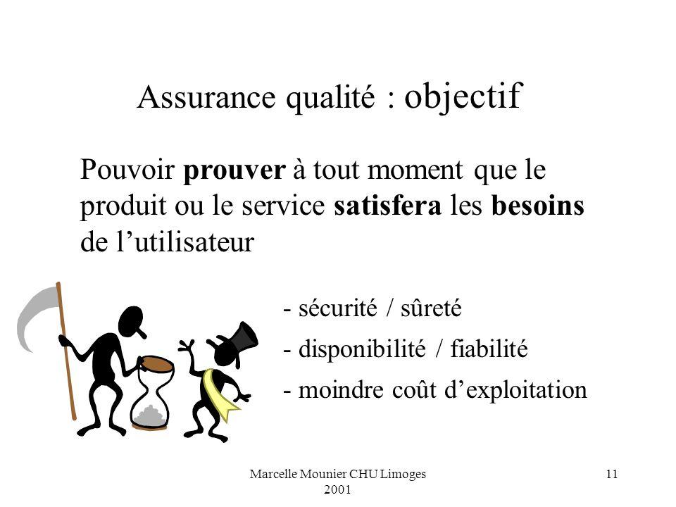 Marcelle Mounier CHU Limoges 2001 11 Pouvoir prouver à tout moment que le produit ou le service satisfera les besoins de lutilisateur - sécurité / sûr
