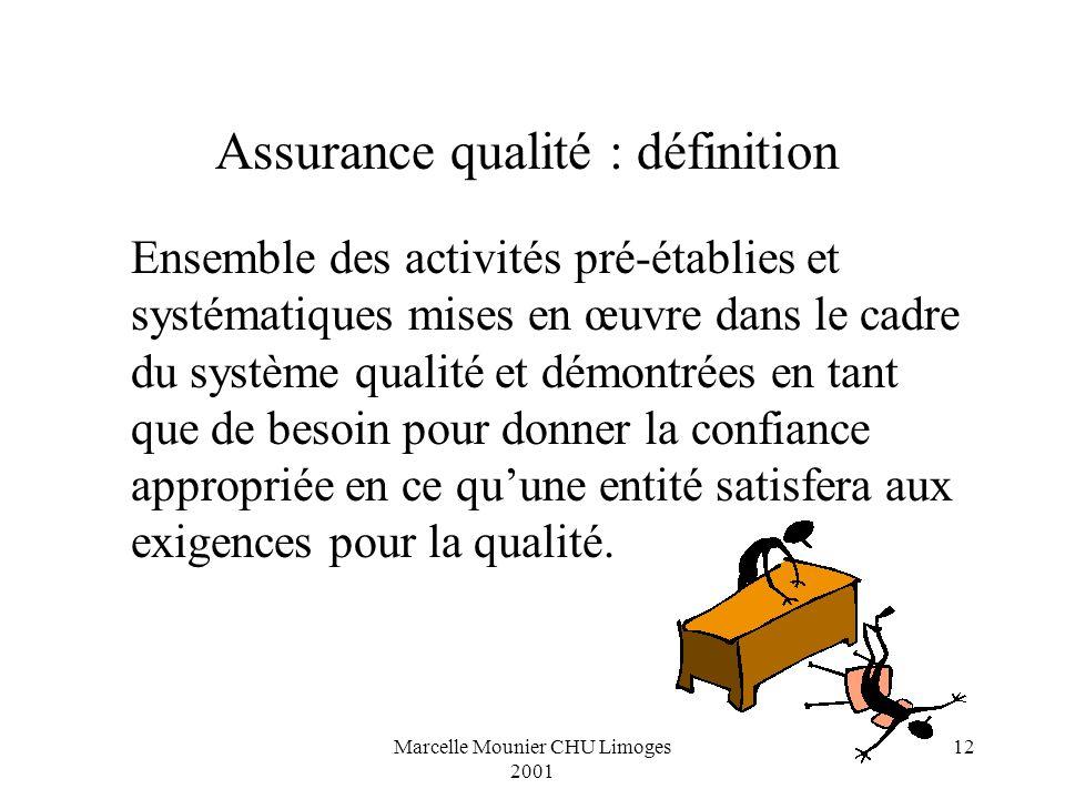 Marcelle Mounier CHU Limoges 2001 12 Ensemble des activités pré-établies et systématiques mises en œuvre dans le cadre du système qualité et démontrée