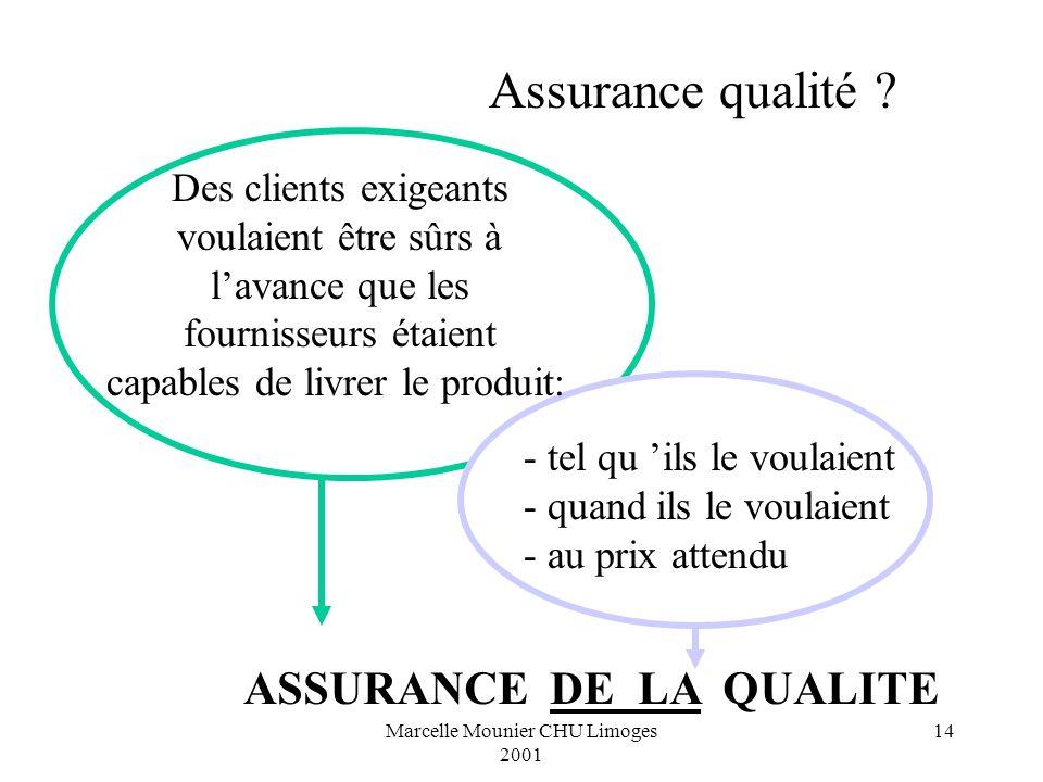 Marcelle Mounier CHU Limoges 2001 14 Des clients exigeants voulaient être sûrs à lavance que les fournisseurs étaient capables de livrer le produit: -