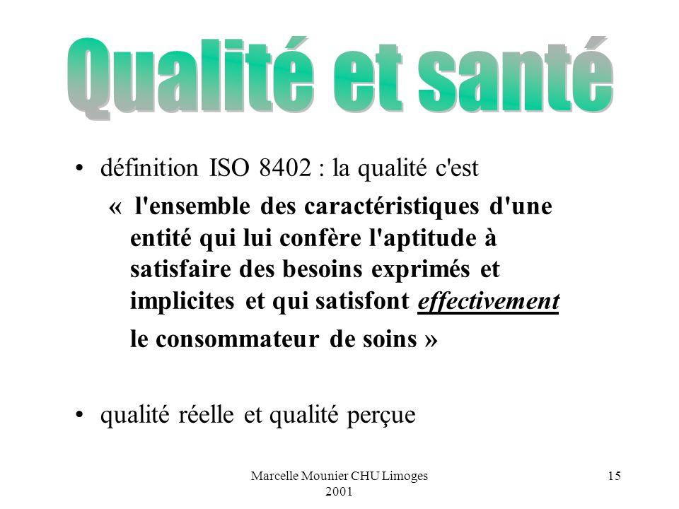 Marcelle Mounier CHU Limoges 2001 15 définition ISO 8402 : la qualité c'est « l'ensemble des caractéristiques d'une entité qui lui confère l'aptitude