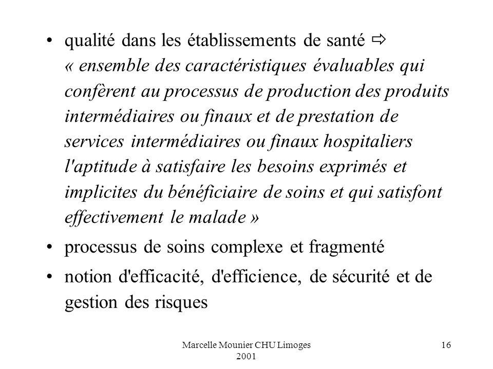 Marcelle Mounier CHU Limoges 2001 16 qualité dans les établissements de santé « ensemble des caractéristiques évaluables qui confèrent au processus de