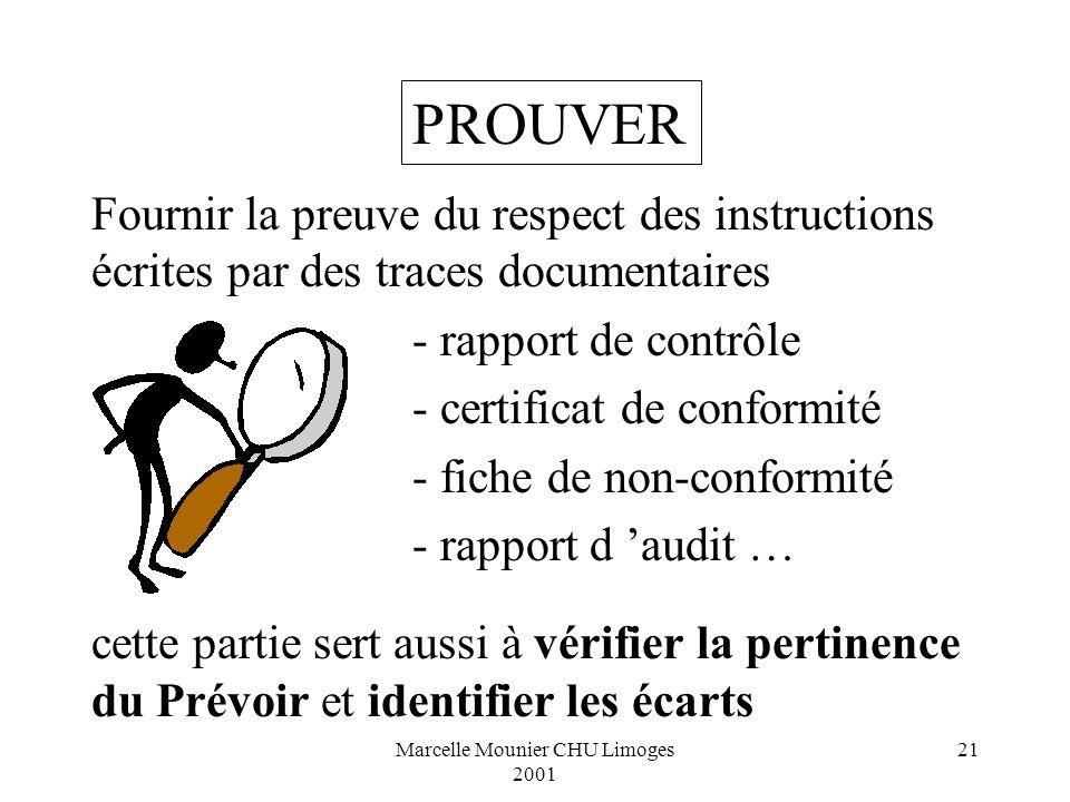 Marcelle Mounier CHU Limoges 2001 21 Fournir la preuve du respect des instructions écrites par des traces documentaires - rapport de contrôle - certif