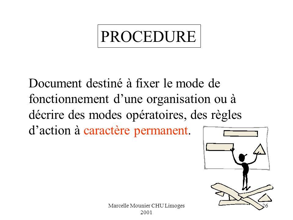 Marcelle Mounier CHU Limoges 2001 26 Document destiné à fixer le mode de fonctionnement dune organisation ou à décrire des modes opératoires, des règl