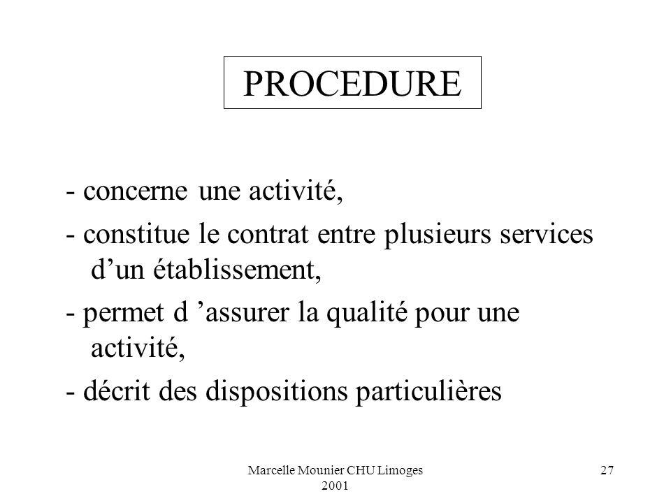 Marcelle Mounier CHU Limoges 2001 27 - concerne une activité, - constitue le contrat entre plusieurs services dun établissement, - permet d assurer la