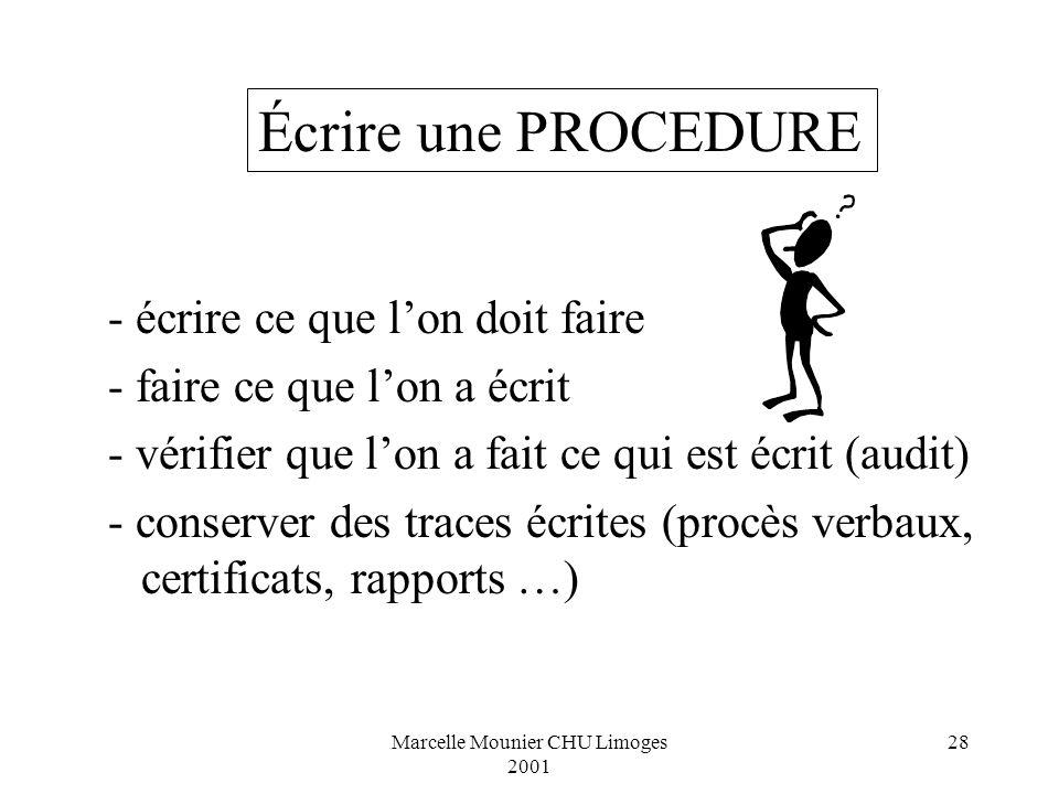 Marcelle Mounier CHU Limoges 2001 28 - écrire ce que lon doit faire - faire ce que lon a écrit - vérifier que lon a fait ce qui est écrit (audit) - co
