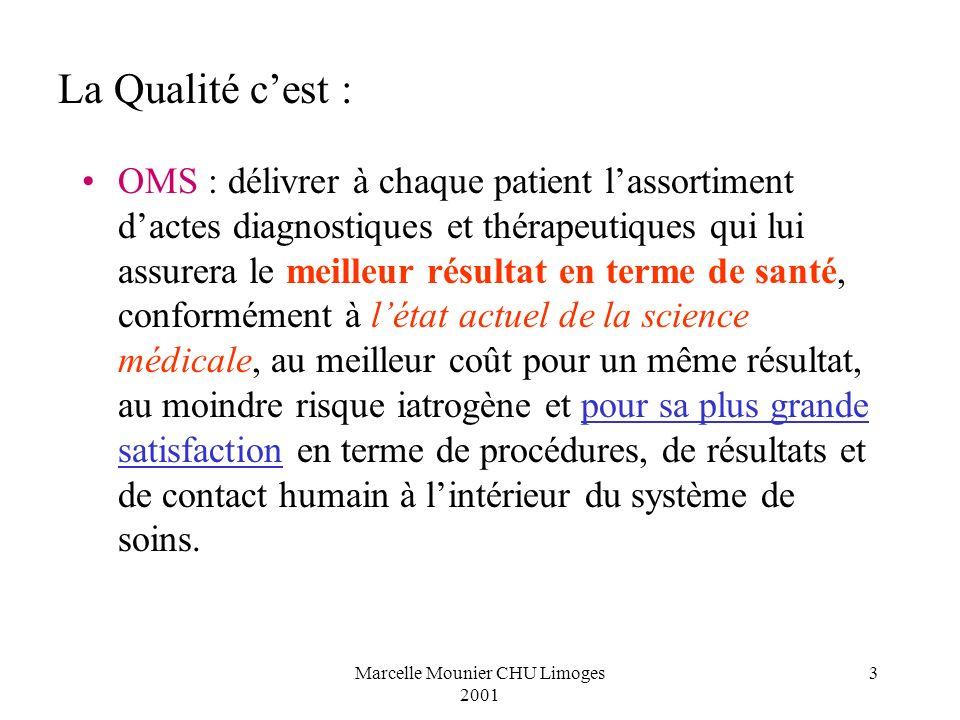 Marcelle Mounier CHU Limoges 2001 3 OMS : délivrer à chaque patient lassortiment dactes diagnostiques et thérapeutiques qui lui assurera le meilleur r