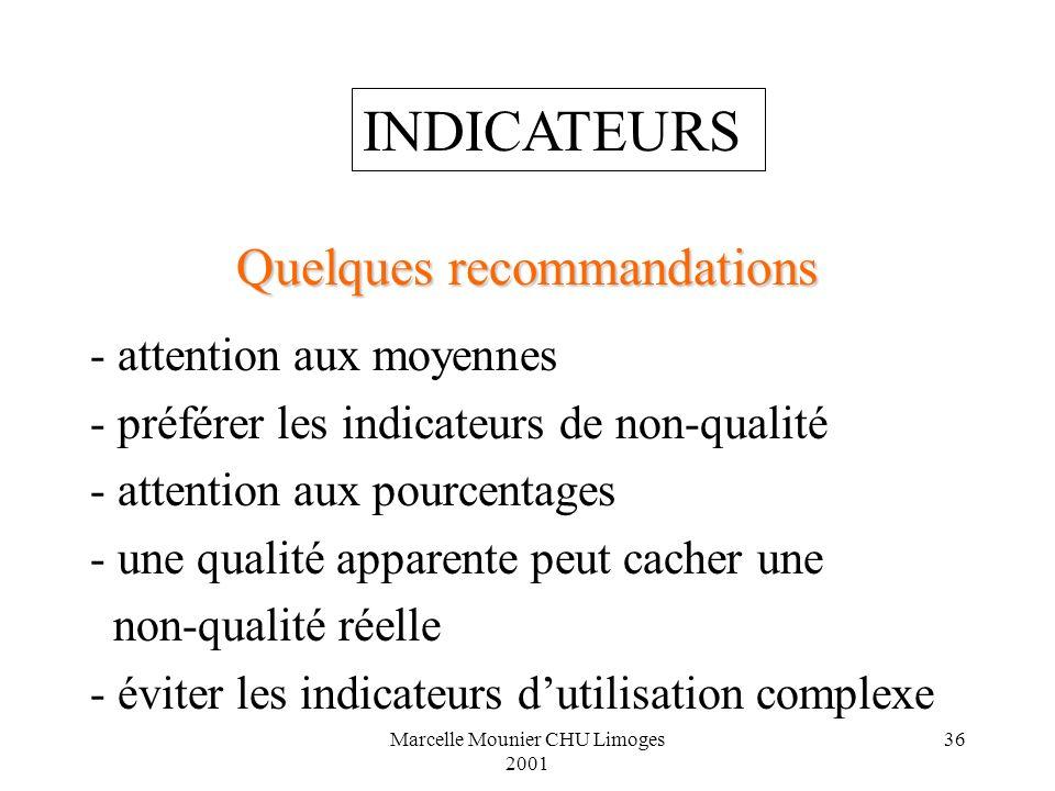 Marcelle Mounier CHU Limoges 2001 36 Quelques recommandations - attention aux moyennes - préférer les indicateurs de non-qualité - attention aux pourc