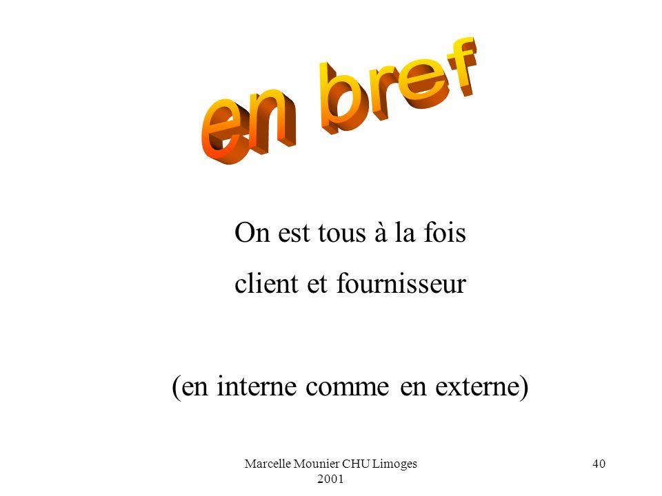 Marcelle Mounier CHU Limoges 2001 40 On est tous à la fois client et fournisseur (en interne comme en externe)