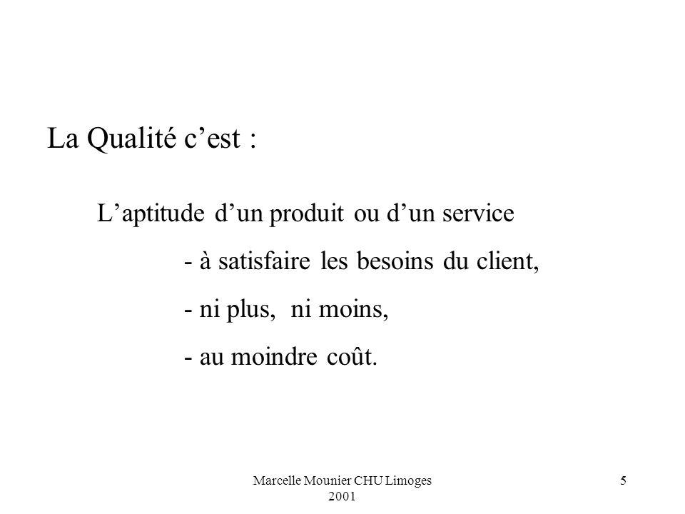 Marcelle Mounier CHU Limoges 2001 5 La Qualité cest : Laptitude dun produit ou dun service - à satisfaire les besoins du client, - ni plus, ni moins,