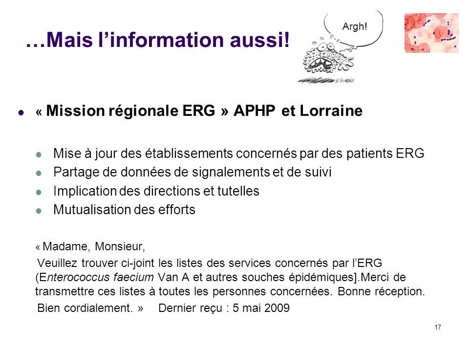 17 …Mais linformation aussi! « Mission régionale ERG » APHP et Lorraine Mise à jour des établissements concernés par des patients ERG Partage de donné