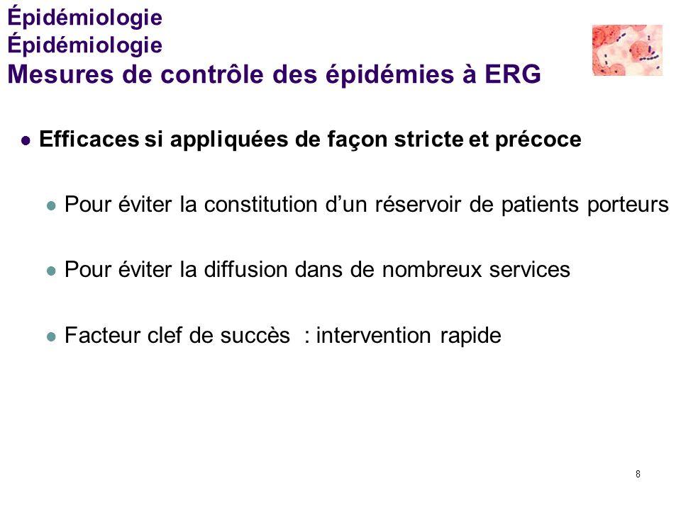 8 Épidémiologie Épidémiologie Mesures de contrôle des épidémies à ERG Efficaces si appliquées de façon stricte et précoce Pour éviter la constitution