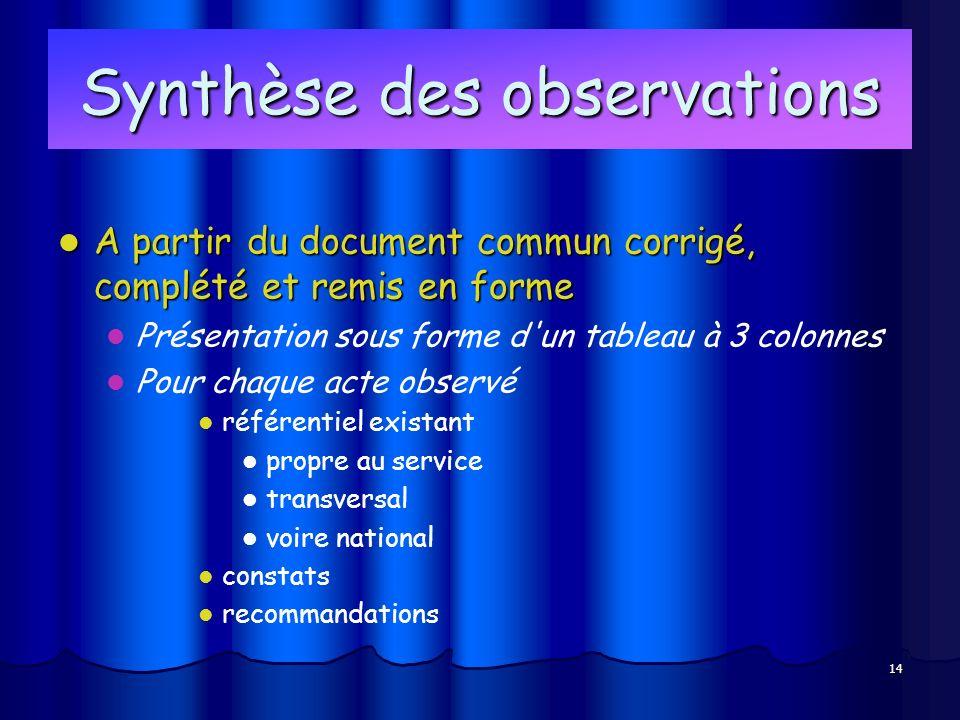 14 Synthèse des observations A partir du document commun corrigé, complété et remis en forme A partir du document commun corrigé, complété et remis en