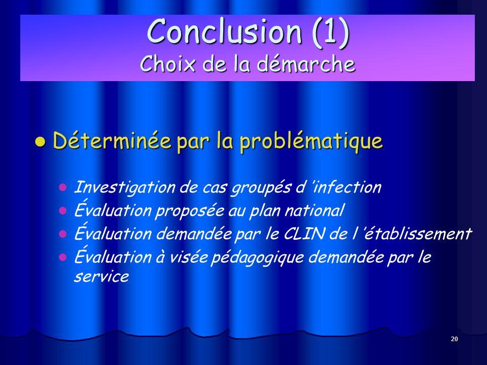 20 Conclusion (1) Choix de la démarche Déterminée par la problématique Déterminée par la problématique Investigation de cas groupés d infection Évalua