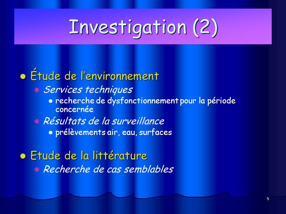 5 Investigation (2) Étude de lenvironnement Étude de lenvironnement Services techniques recherche de dysfonctionnement pour la période concernée Résultats de la surveillance prélèvements air, eau, surfaces Etude de la littérature Etude de la littérature Recherche de cas semblables