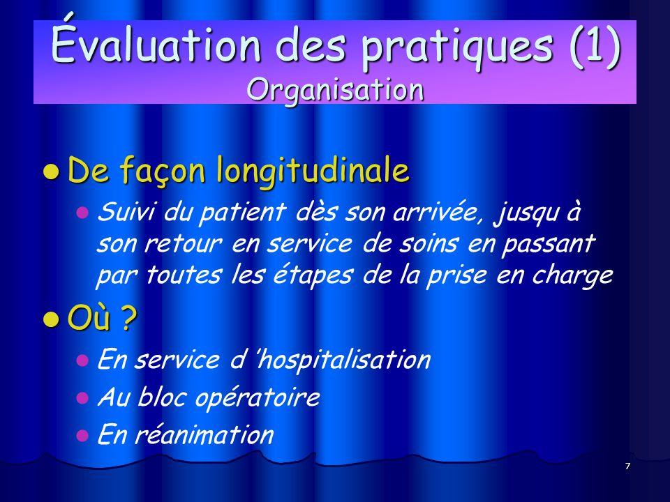 7 Évaluation des pratiques (1) Organisation De façon longitudinale De façon longitudinale Suivi du patient dès son arrivée, jusqu à son retour en serv