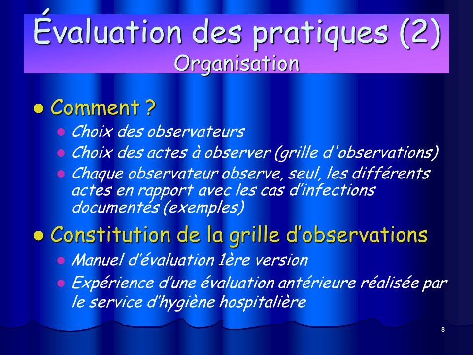8 Évaluation des pratiques (2) Organisation Comment ? Comment ? Choix des observateurs Choix des actes à observer (grille d'observations) Chaque obser