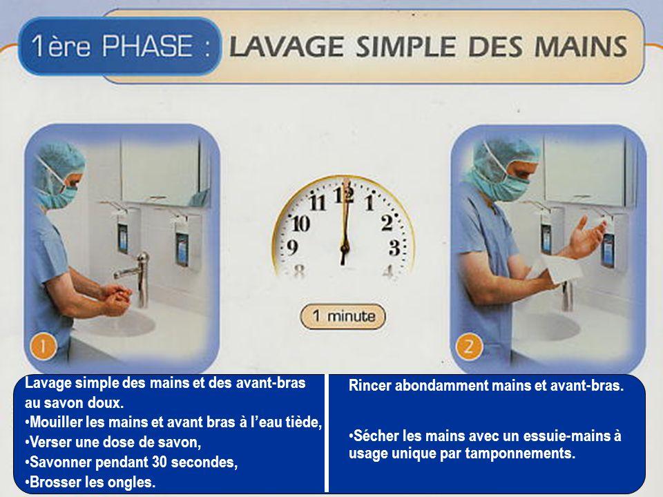 Lavage simple des mains et des avant-bras au savon doux. Mouiller les mains et avant bras à leau tiède, Verser une dose de savon, Savonner pendant 30