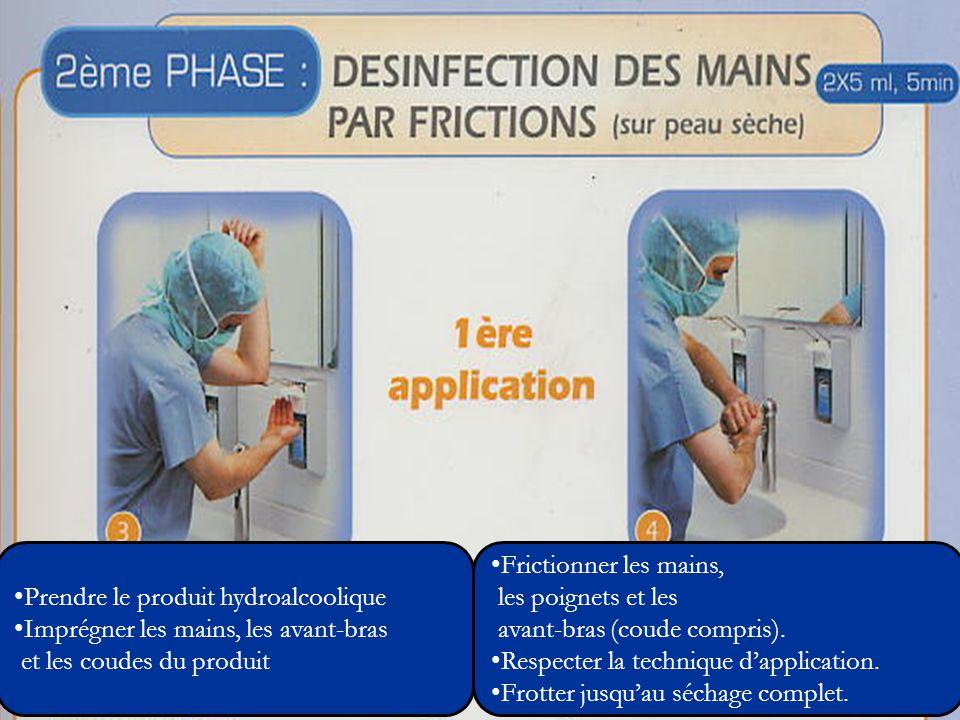 Prendre le produit hydroalcoolique Imprégner les mains, les avant-bras et les coudes du produit Frictionner les mains, les poignets et les avant-bras