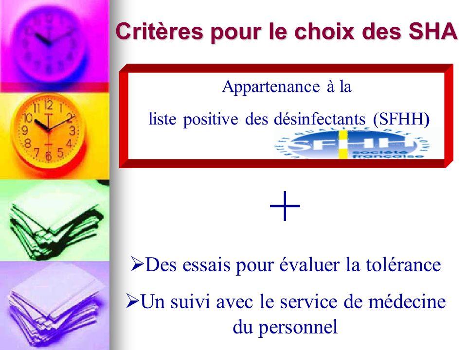 + Des essais pour évaluer la tolérance Un suivi avec le service de médecine du personnel Critères pour le choix des SHA Appartenance à la liste positi