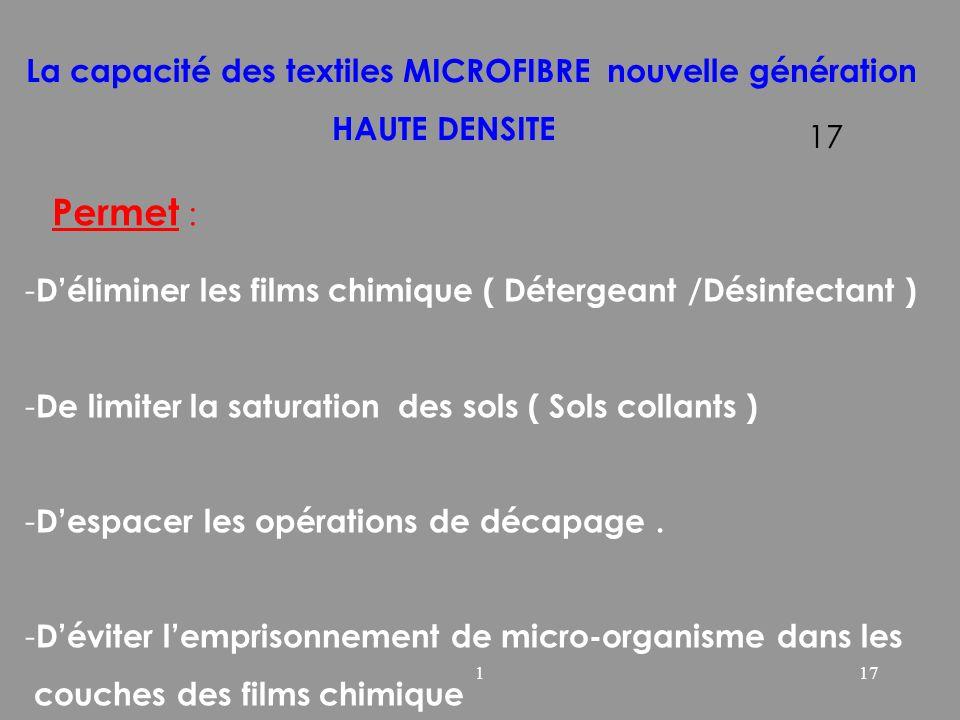 117 La capacité des textiles MICROFIBRE nouvelle génération HAUTE DENSITE Permet : - Déliminer les films chimique ( Détergeant /Désinfectant ) - De li