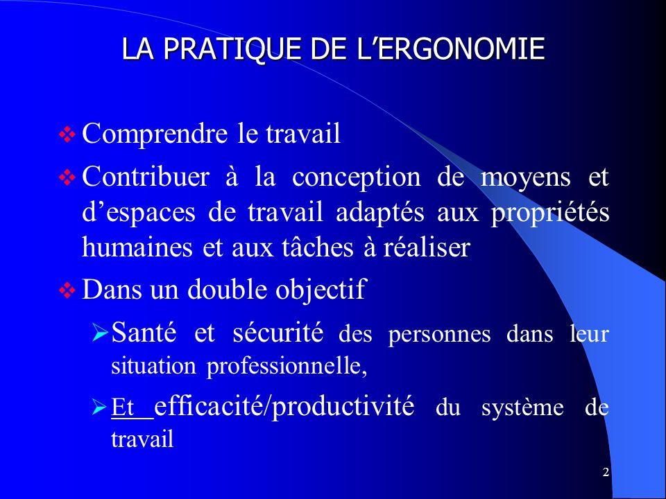 2 LA PRATIQUE DE LERGONOMIE Comprendre le travail Contribuer à la conception de moyens et despaces de travail adaptés aux propriétés humaines et aux t