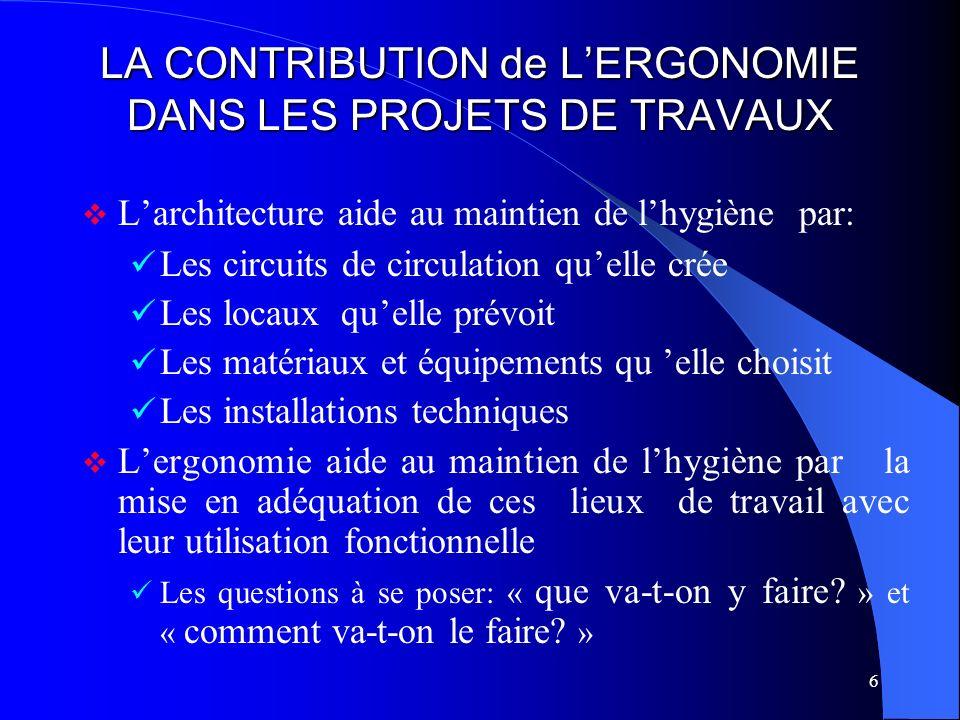 6 LA CONTRIBUTION de LERGONOMIE DANS LES PROJETS DE TRAVAUX Larchitecture aide au maintien de lhygiène par: Les circuits de circulation quelle crée Le
