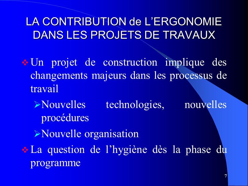 7 LA CONTRIBUTION de LERGONOMIE DANS LES PROJETS DE TRAVAUX Un projet de construction implique des changements majeurs dans les processus de travail N