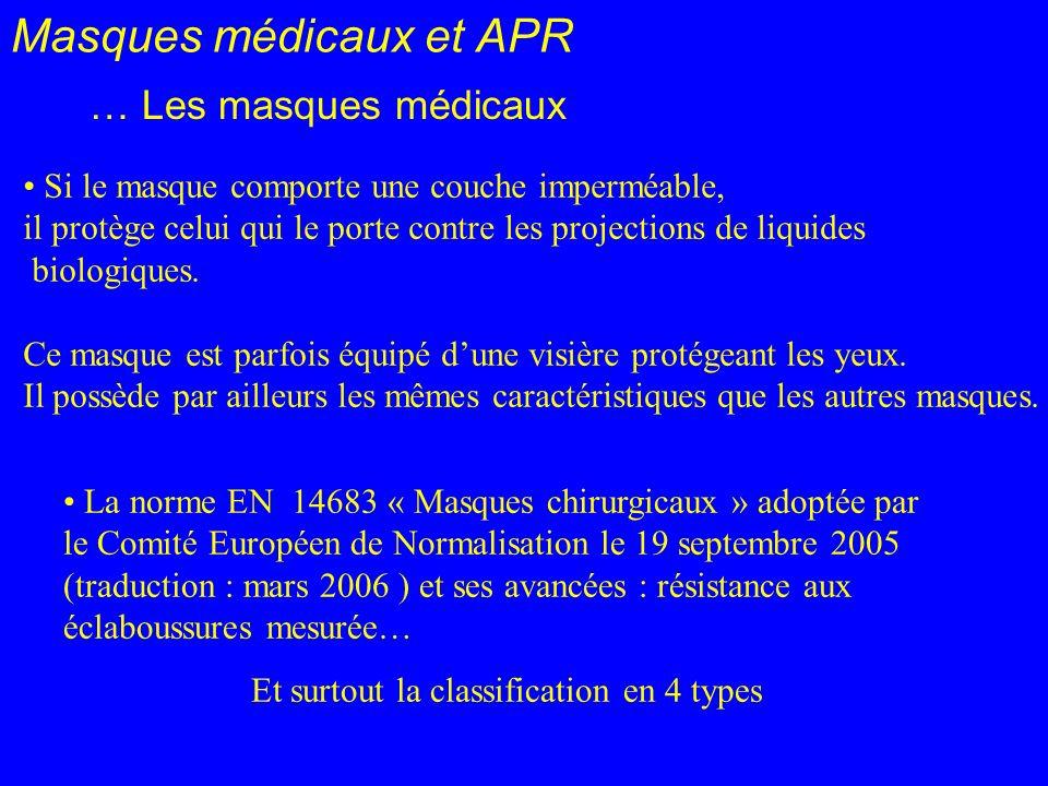 Masques médicaux et APR … Les masques médicaux La norme EN 14683 « Masques chirurgicaux » adoptée par le Comité Européen de Normalisation le 19 septem