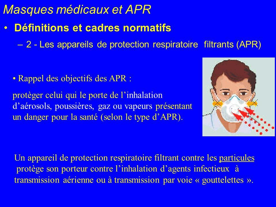Masques médicaux et APR Définitions et cadres normatifs –2 - Les appareils de protection respiratoire filtrants (APR) Rappel des objectifs des APR : p