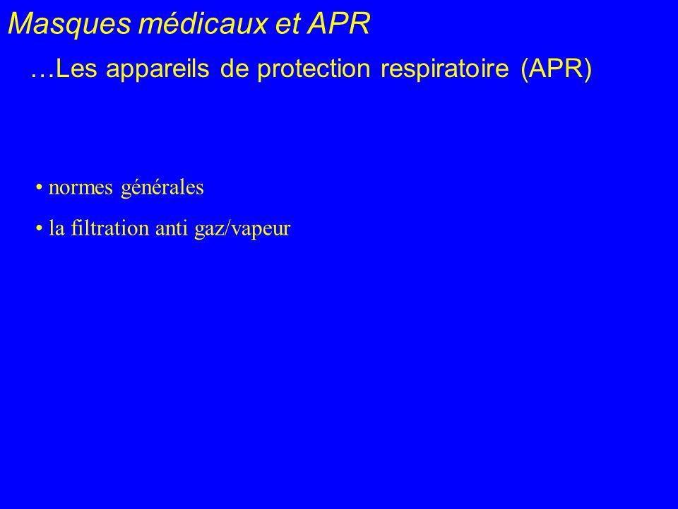 Masques médicaux et APR …Les appareils de protection respiratoire (APR) normes générales la filtration anti gaz/vapeur