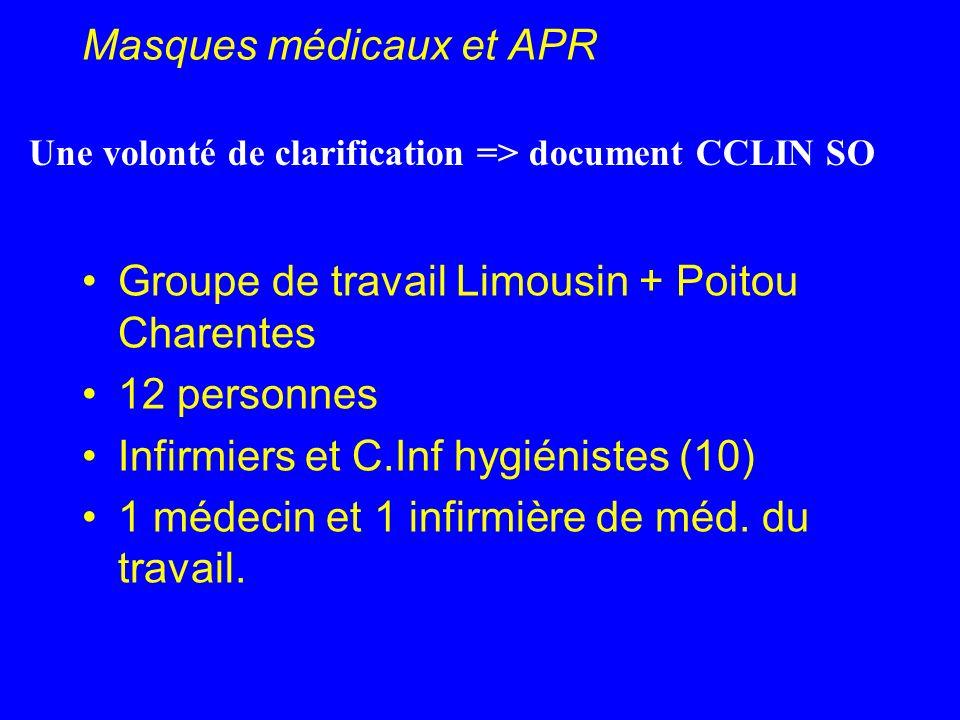 Masques médicaux et APR Groupe de travail Limousin + Poitou Charentes 12 personnes Infirmiers et C.Inf hygiénistes (10) 1 médecin et 1 infirmière de m