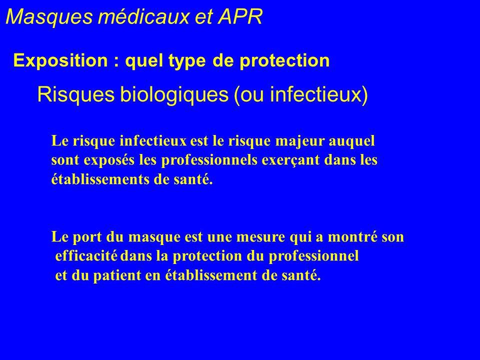 Masques médicaux et APR Exposition : quel type de protection Risques biologiques (ou infectieux) Le risque infectieux est le risque majeur auquel sont