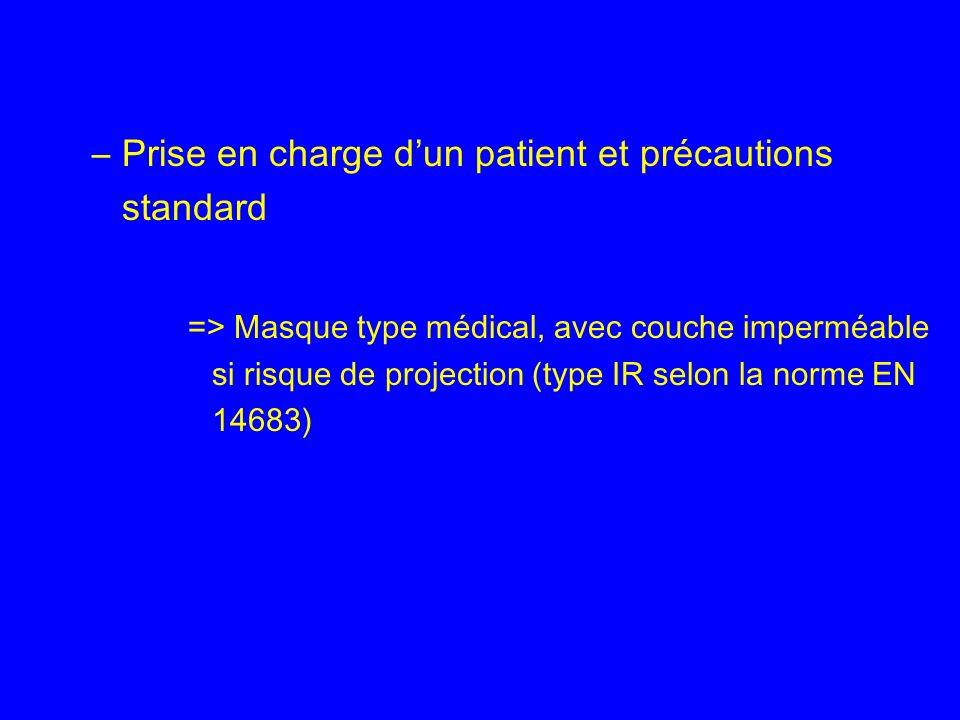 –Prise en charge dun patient et précautions standard => Masque type médical, avec couche imperméable si risque de projection (type IR selon la norme E