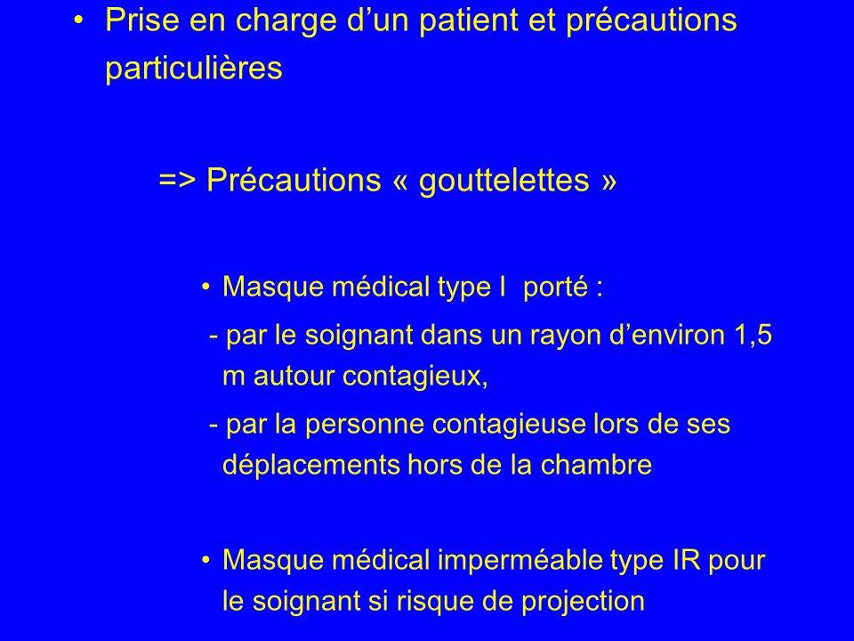 Prise en charge dun patient et précautions particulières => Précautions « gouttelettes » Masque médical type I porté : - par le soignant dans un rayon