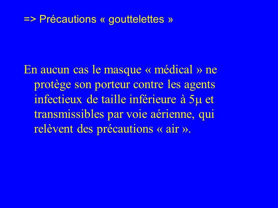 => Précautions « gouttelettes » En aucun cas le masque « médical » ne protège son porteur contre les agents infectieux de taille inférieure à 5 et tra
