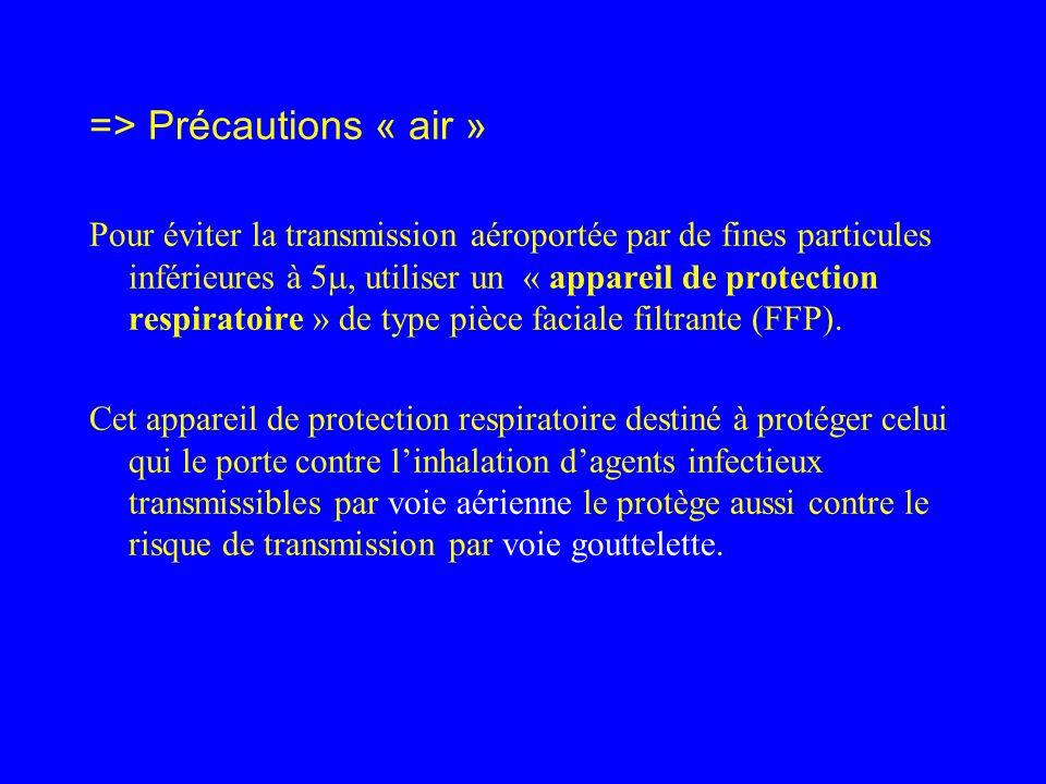 => Précautions « air » Pour éviter la transmission aéroportée par de fines particules inférieures à 5, utiliser un « appareil de protection respiratoi